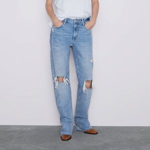 Zara Zw Premium Straight Jeans in Misty Blue